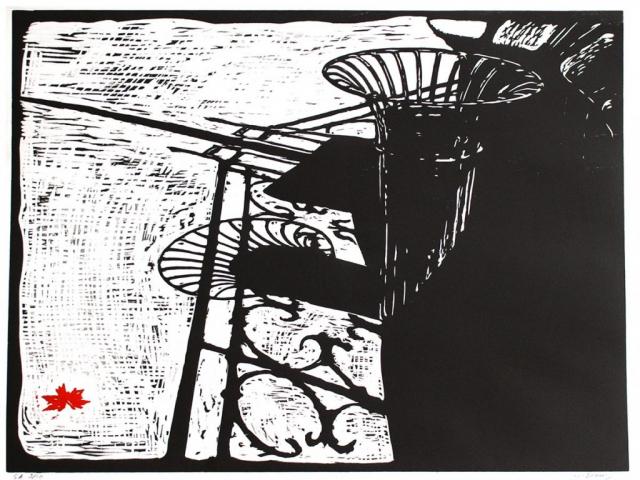 ancienne poubelle parisienne - square de ND de Paris - xylographie