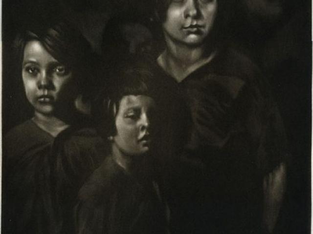 les enfants - manière noire 50 x 25 cm