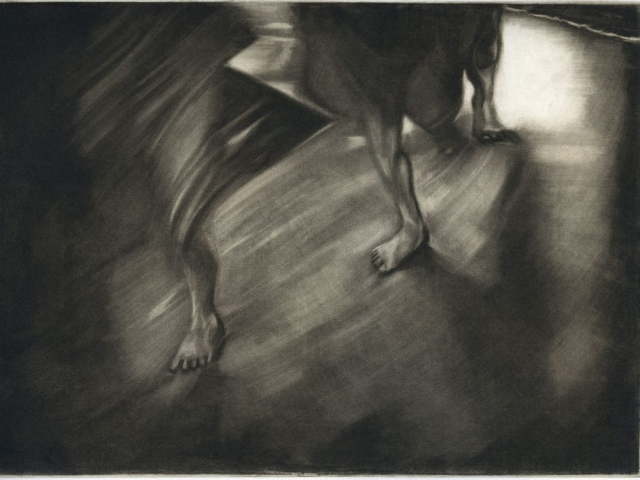 la fuite - manière noire 24 x 32 cm