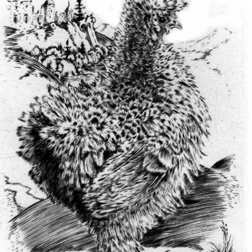 Poulette  chinoise  Burin 12 x 9 cm